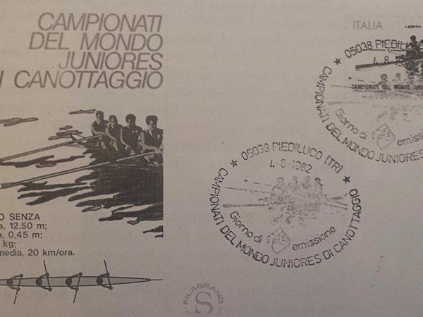 1982. F.D.C. dei Campionati Mondiali Juniores di canottaggio a Piediluco.