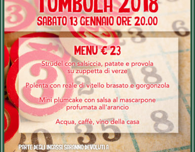 TOMOBOLA 2018: IL MENU