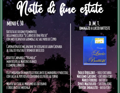 VENERDI' 7 SETTEMBRE, NOTTE DI FINE ESTATE