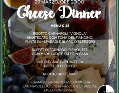 CHEESE DINNER, VENERDI' 29 MARZO