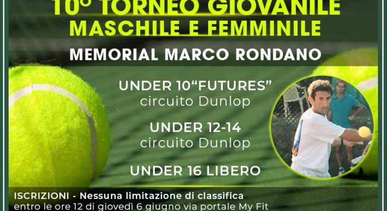TORNEO GIOVANILE, MEMORIAL MARCO RONDANO