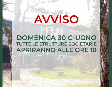 AVVISO PER DOMENICA 30 GIUGNO